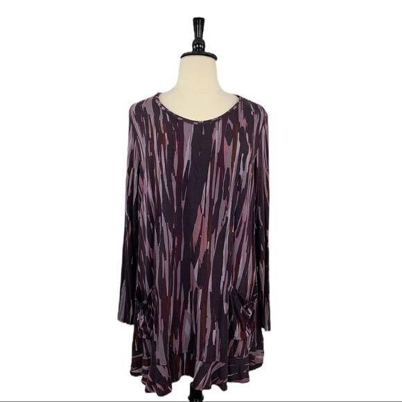 LOGO Lori Goldstein • Gray Purple Tunic Top • 3X
